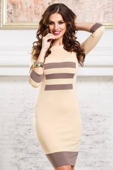 Платье футляр бежевого цвета Angela Ricci со скидкой