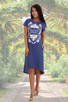 Синее домашнее платье Натали со скидкой