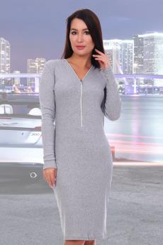 Платье серого цвета с молнией Натали